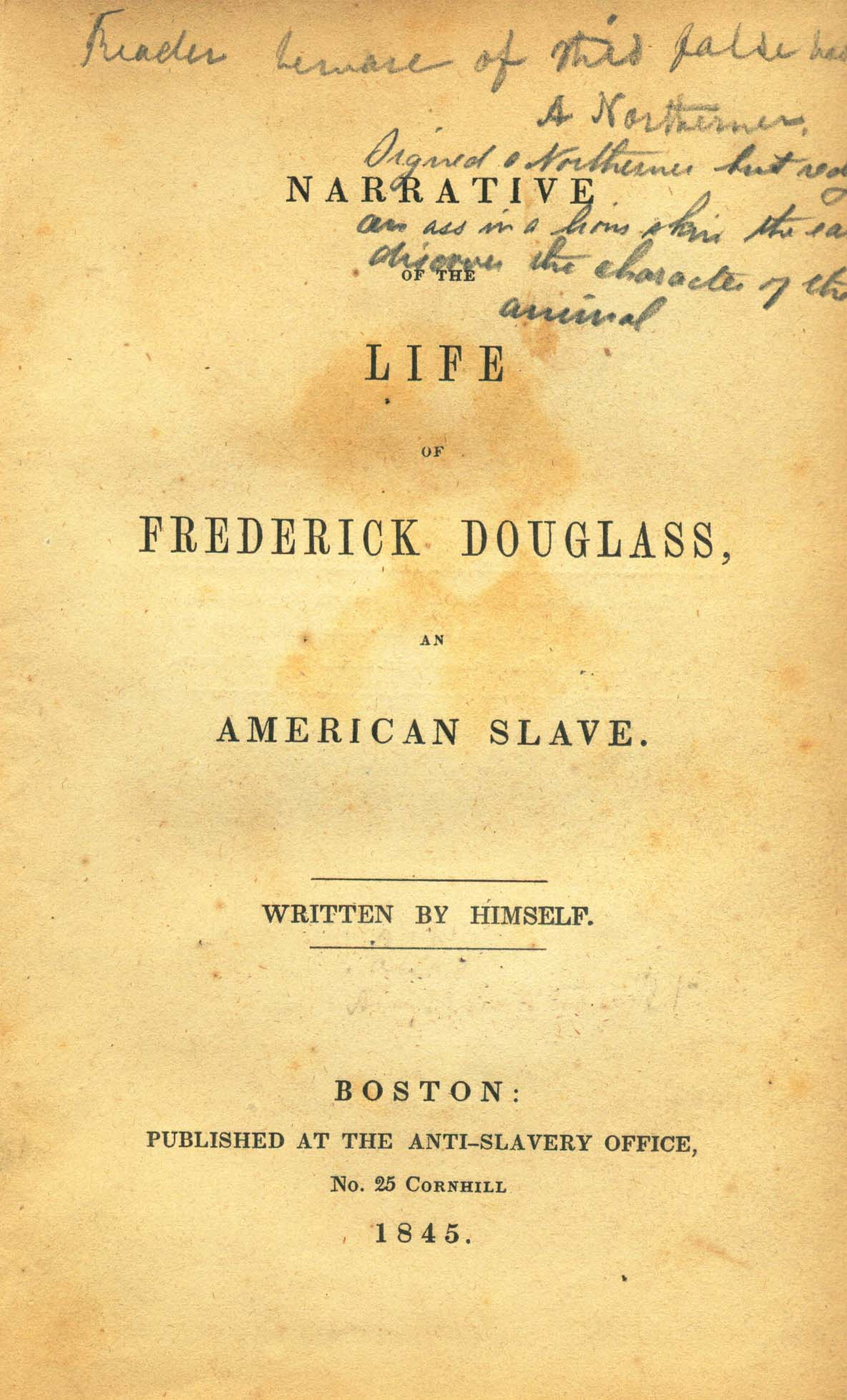 narrative life of frederick douglass essay In the autobiography, the narrative of the life of frederick douglass, an american slave, there is an underlying theme of knowledge as the path to freedom.